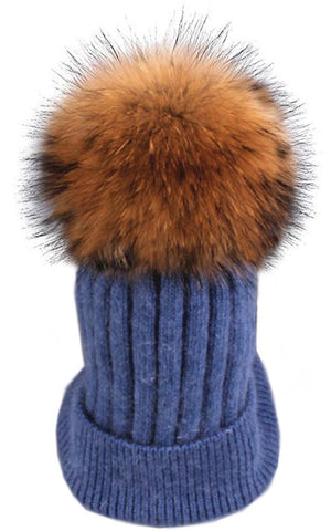 Wool Real Fur Detachable Pom Pom Hat