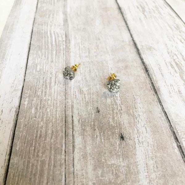 THE ROUGH CUT DRUZY BITS STUD EARRINGS (+COLOURS)
