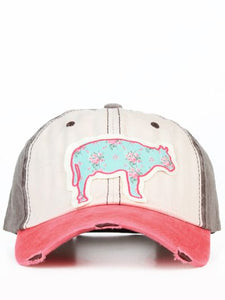 Light Blue Floral Steer Cap