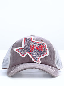 Leopard Texas Y'all Light Brown Distressed Cap