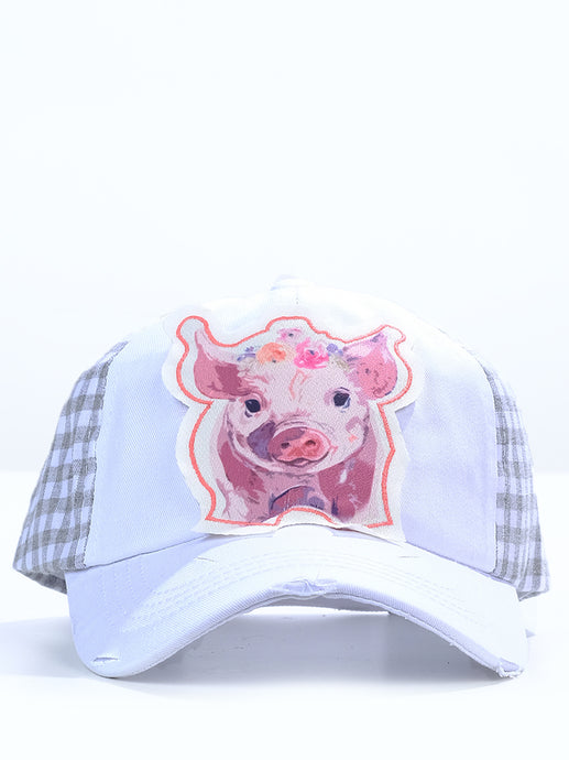 Farm Bred Piggy White & Grey Gingham Cap