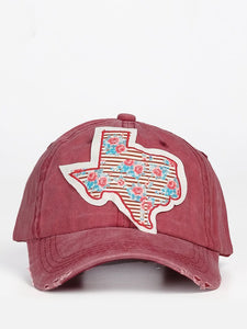 Floral Striped Texas Cap Maroon
