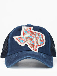 Floral Striped Texas Cap Navy/Mesh
