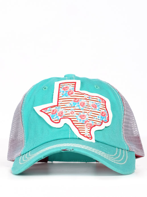 Floral Striped Texas Cap Turq/Mesh