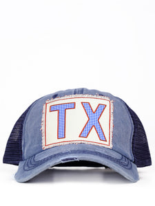 TX Blue Gingham Cap Navy/Mesh