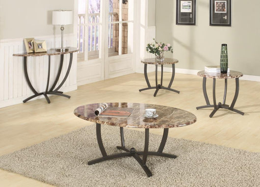 3389 3Pc Faux Marble Coffee And End Table Set