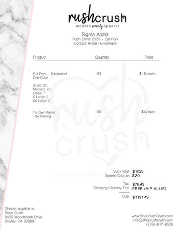 Sigma Alpha - Fall Rush 2020 Invoice