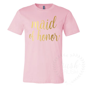 Bridal Party Shirts in Light Pink and Gold Relaxed VNecks