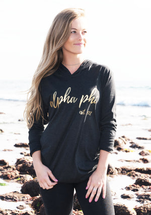 Long Sleeve Unisex Black Triblend Hoodie *Available For Multiple Organizations!*