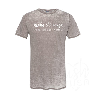 Alpha Chi Omega - Real Strong Women Acid Wash Tee