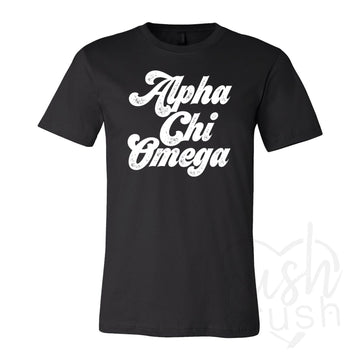 Alpha Chi Omega - Seventies Distressed Lettering T-Shirt