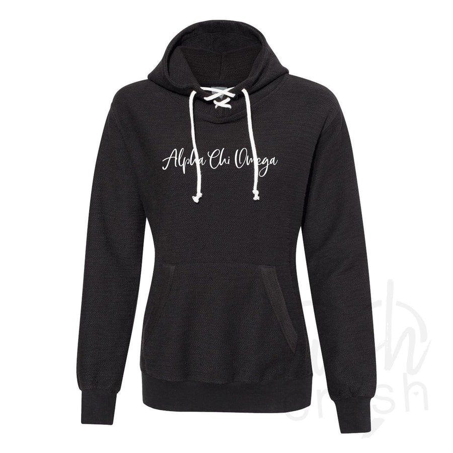 Alpha Chi Omega - French Terry Lace-Up Hoodie