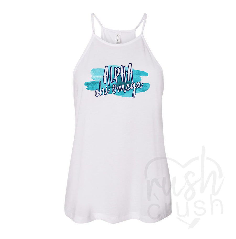 Alpha Chi Omega - Watercolor High Neck Tank Top