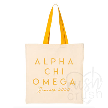 Alpha Chi Omega - Seniors 2020 Canvas Tote Bag