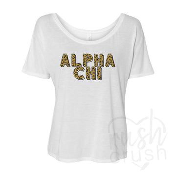 Alpha Chi Omega - Leopard Print Slouchy T-Shirt