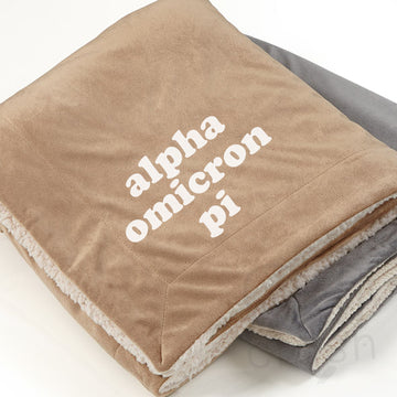 Alpha Omicron Pi - Sherpa Throw Blanket
