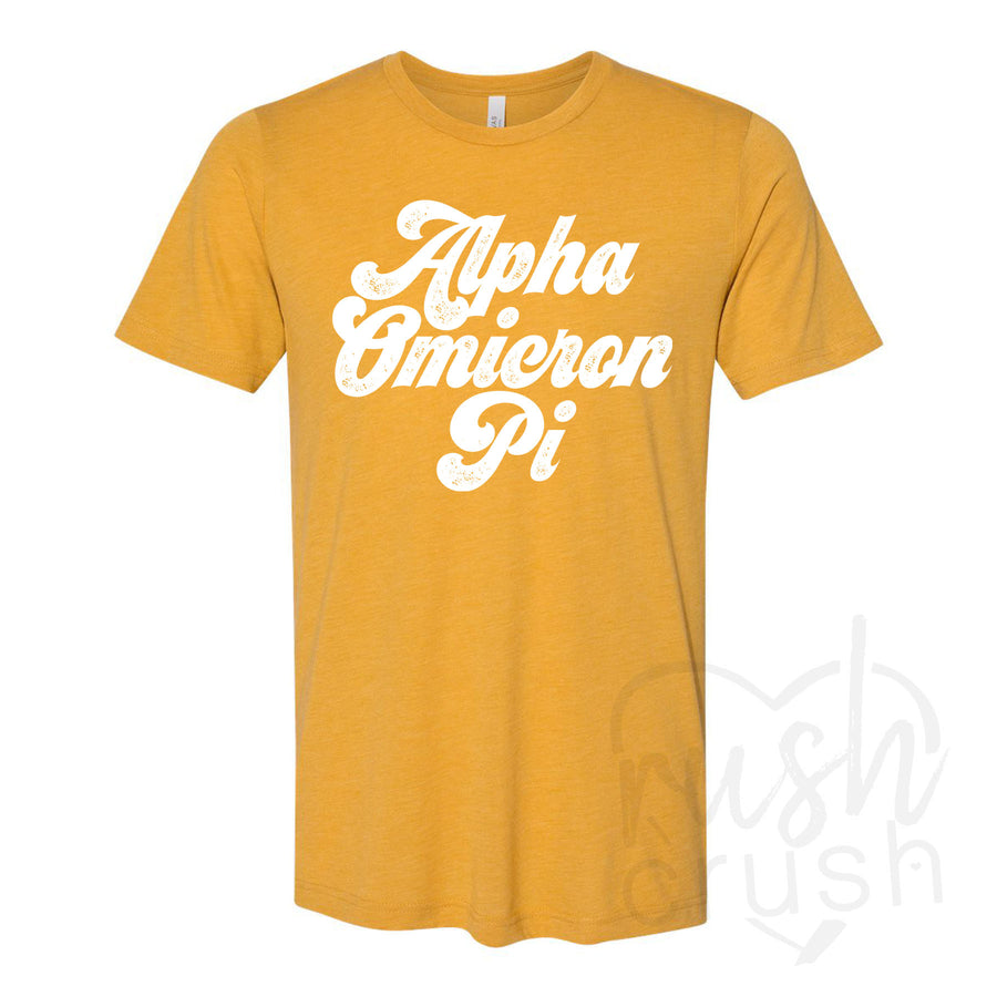Alpha Omicron Pi - Seventies Distressed Lettering T-Shirt
