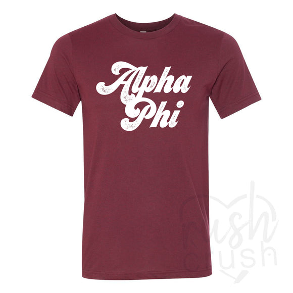 Alpha Phi - Seventies Distressed Lettering T-Shirt