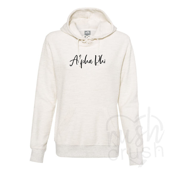 Alpha Phi - French Terry Lace-Up Hoodie