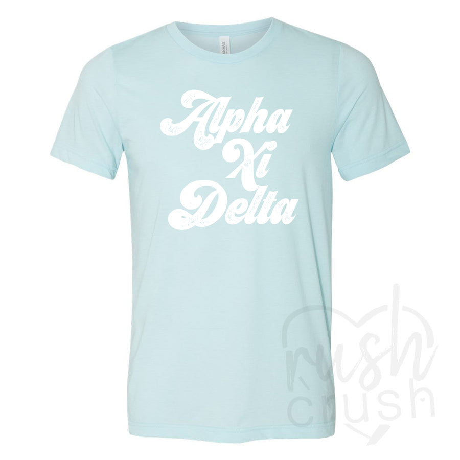 Alpha Xi Delta - Seventies Distressed Lettering T-Shirt