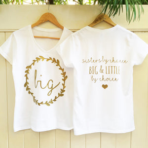 SUMMER SALE Big and Little Quote Floral Halo Shirts in White and Gold