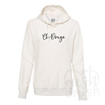 Chi Omega - French Terry Lace-Up Hoodie