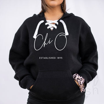 Chi Omega - Hockey Lace-Up Hoodie