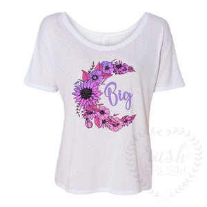 Big and Little Slouchy Tee, Floral Crescent Moon in Purple Ombre