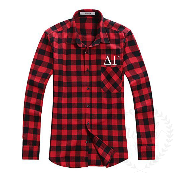 Greek Letter Flannel Red and Black Button-Up Shirt