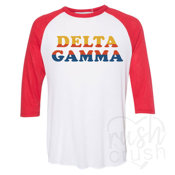 Delta Gamma - Retro Striped Letters T-Shirt