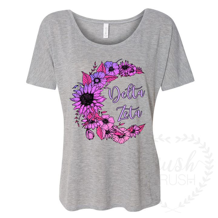 Delta Zeta Slouchy Tee, Floral Crescent Moon in Purple Ombre