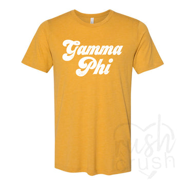 Gamma Phi Beta - Seventies Distressed Lettering T-Shirt