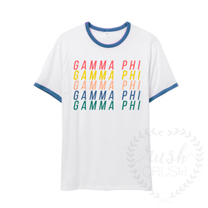 Rainbow Letters Ringer Tee *Available for Multiple Organizations!