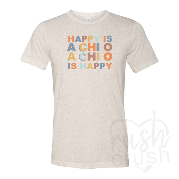Alpha Chi Omega Sorority - Happy Is Oatmeal Triblend T-Shirt