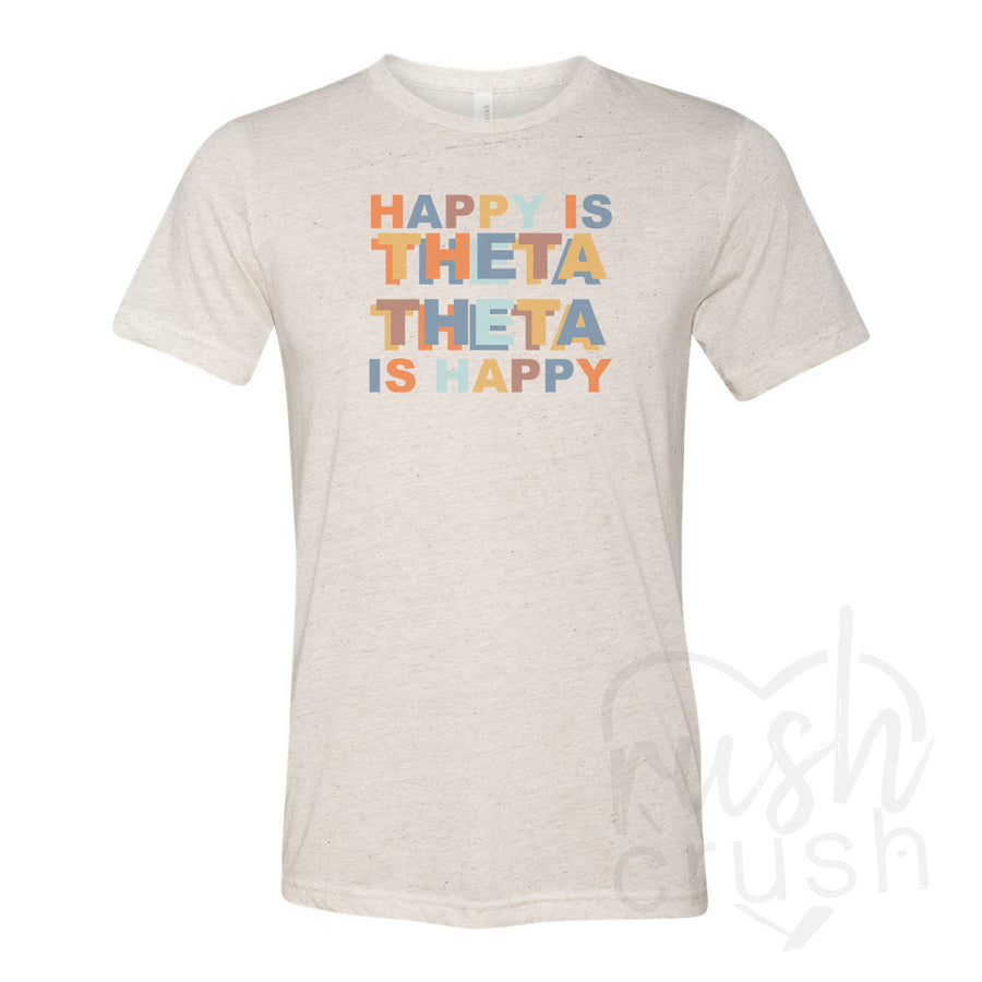 Theta - Happy Is Oatmeal Triblend T-Shirt