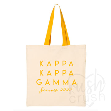Kappa Kappa Gamma - Seniors 2020 Canvas Tote Bag