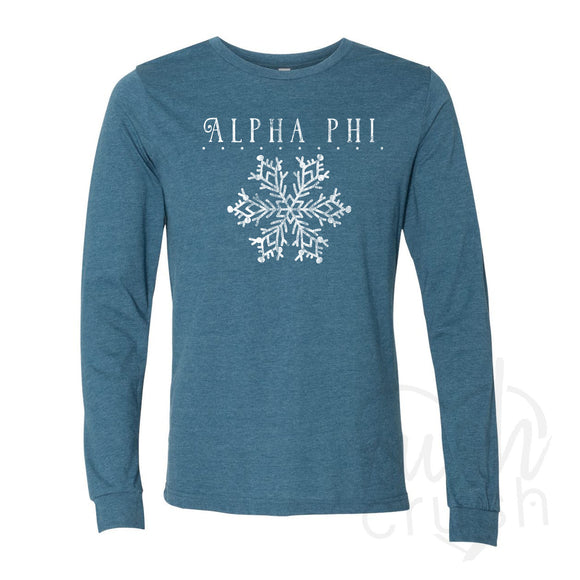 Alpha Phi - Let it Snow Snowflake Long Sleeve T-Shirt