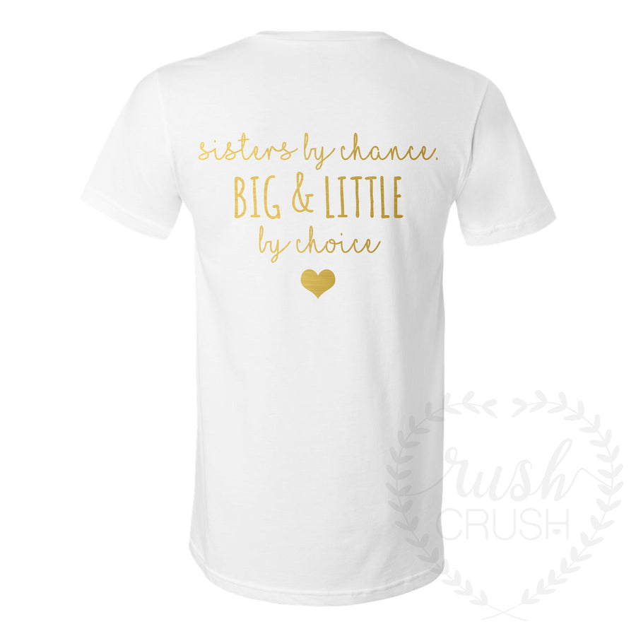 Big and Little Quote Floral Halo Shirts in White and Gold