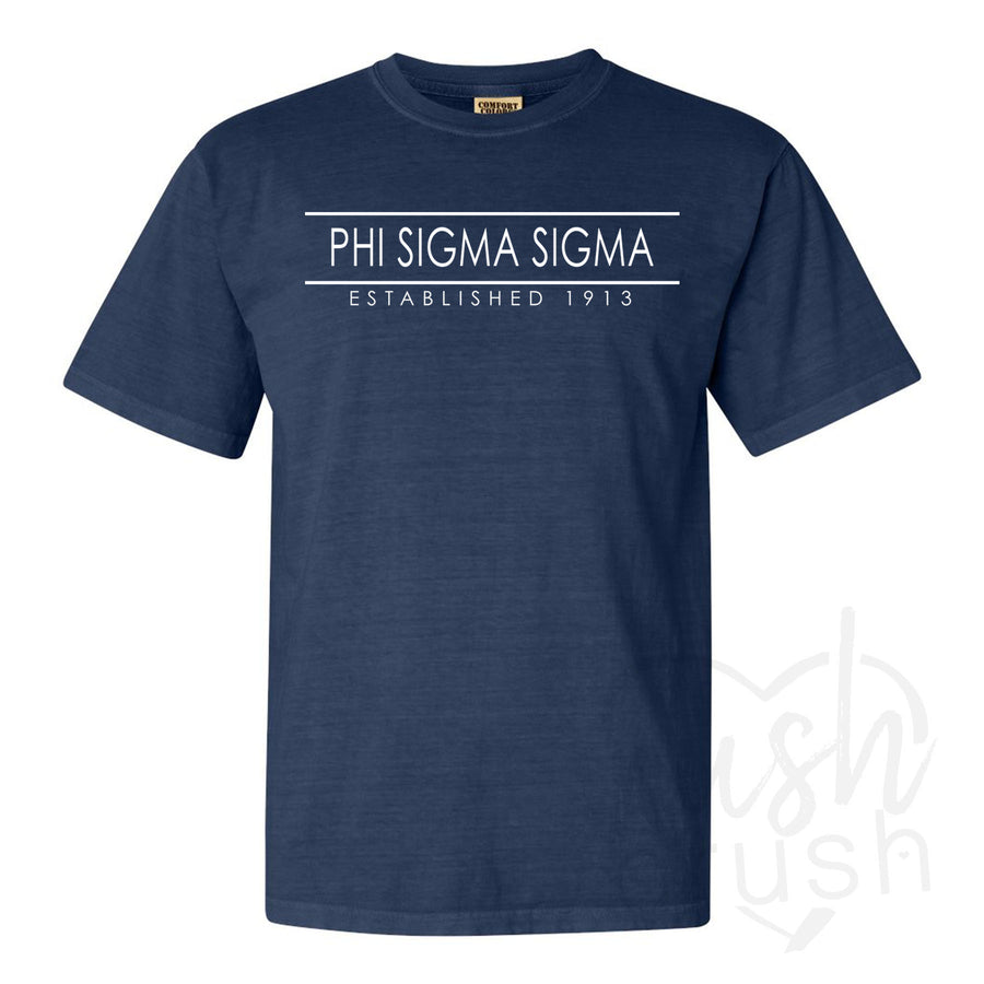 Phi Sigma Sigma - Comfort Colors Established Bar T-Shirt