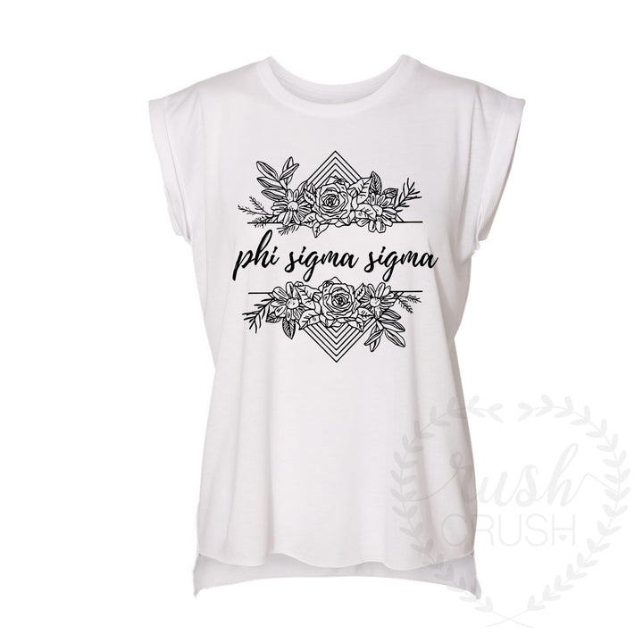Phi Sigma Sigma Boho Floral Rolled Sleeves