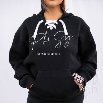 Phi Sigma Sigma - Hockey Lace-Up Hoodie