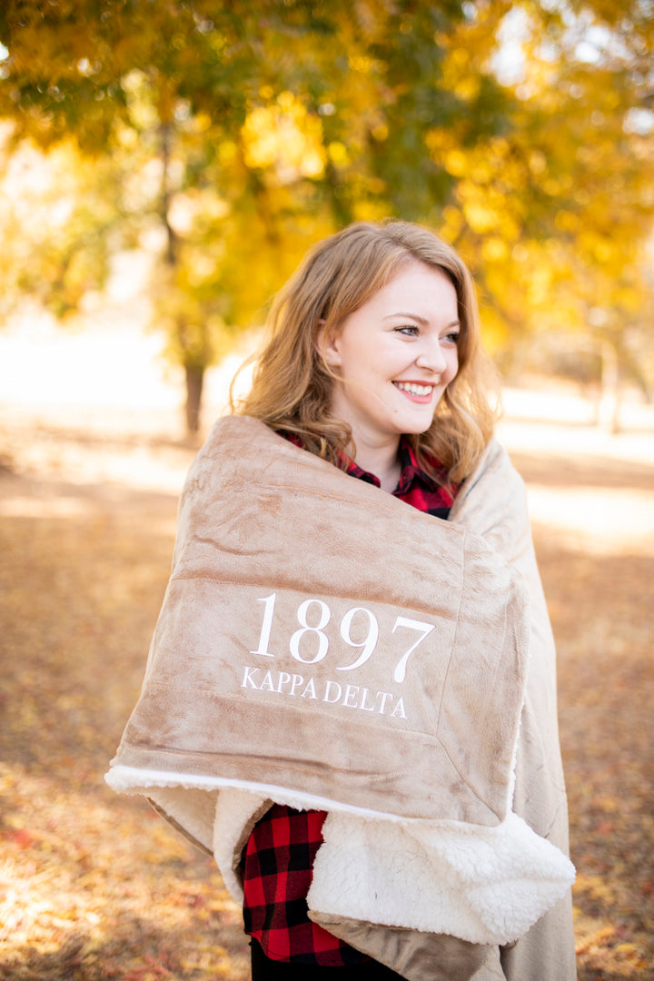 Kappa Delta Winter Sherpa Throw Blanket