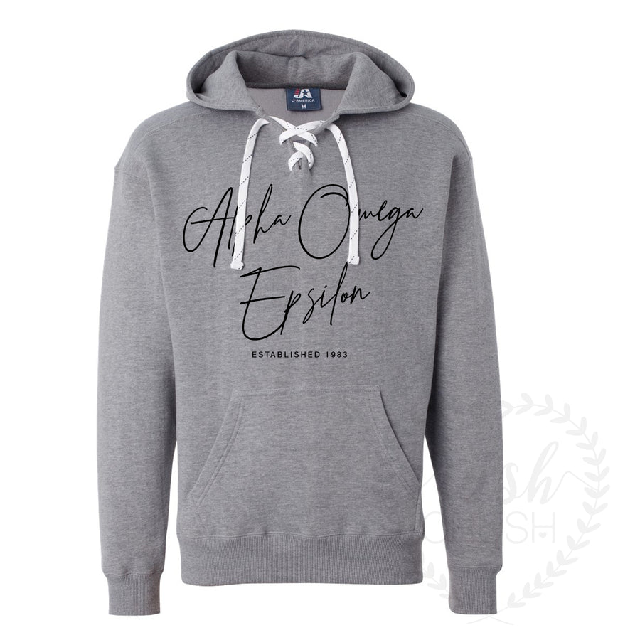 Alpha Omega Epsilon Grey Hockey Hoodie