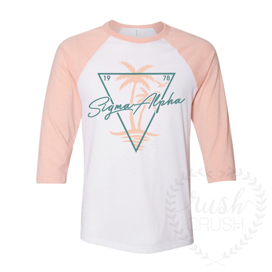 California Vibes 3/4 Sleeve Baseball Tee in Peach *Available for Multiple Organizations