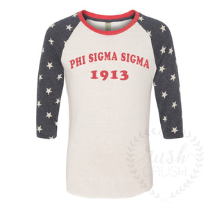 Phi Sigma Sigma 1913 Reach for the Stars 3/4 Sleeve Tee