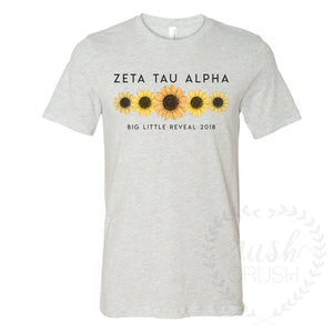 Zeta Tau Alpha Big Little Reveal Sunflower Tee