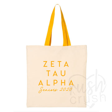 Zeta Tau Alpha - Seniors 2020 Canvas Tote Bag