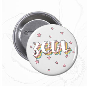 "Zeta Retro Style Button, 2.5"" Pin Back Button"