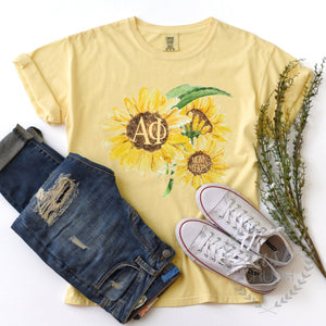 Sorority Moms Weekend Sunflower Comfort Colors Tee, Available For All Organizations, Mother Daughter Weekend