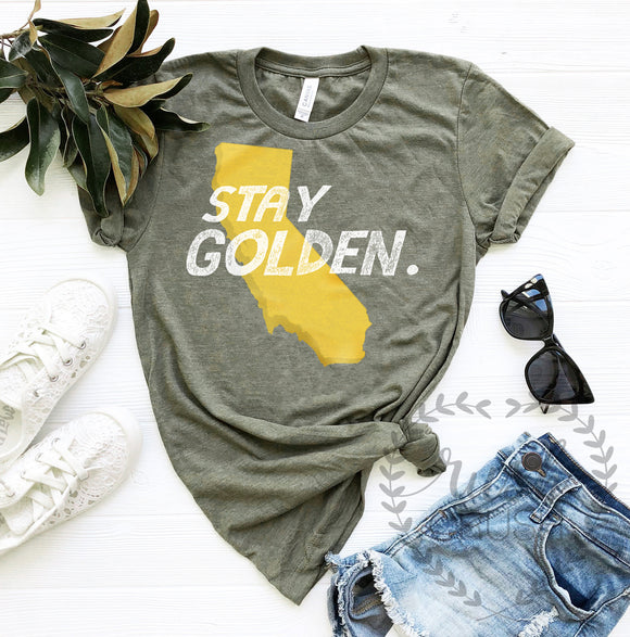 Stay Golden Shirt, Olive Tee Shirt, Retro Shirt, Comfy Olive Green T Shirt
